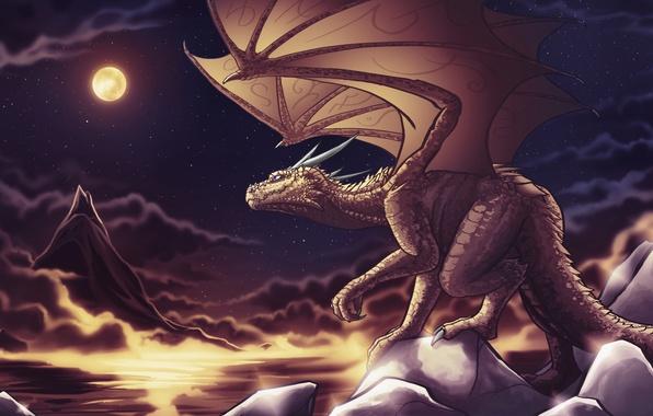 Картинка небо, звезды, ночь, тучи, фантастика, скалы, луна, дракон, крылья, хвост, рога