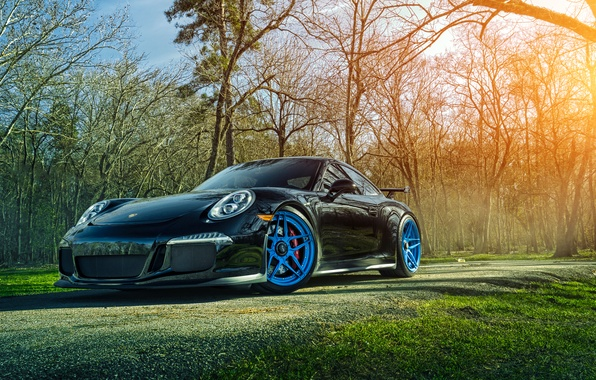 Картинка 911, Porsche, Grass, Front, Sun, GT3, Forged, Custom, Wheels, ADV.1