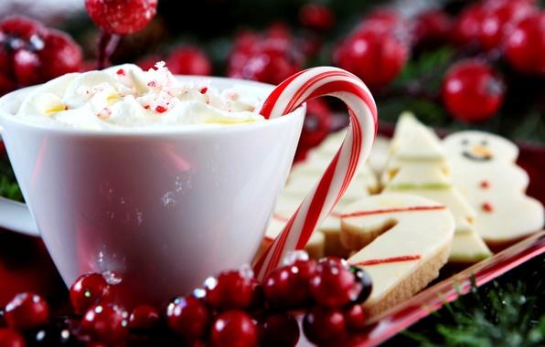 Картинка зима, Новый Год, печенье, сливки, Рождество, трость, чашка, леденец, напиток, палочка, конфета, Christmas, выпечка, праздники, …