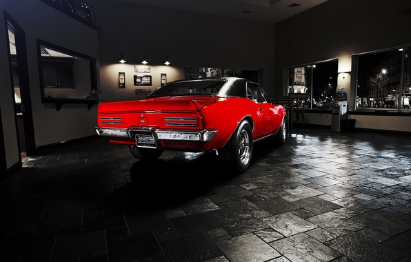 Картинка red, мускул кар, Pontiac, muscle car, 1967, понтиак, Firebird, фаербёрд