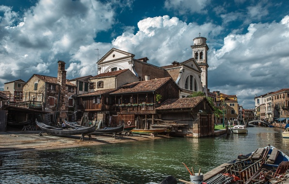 Картинка City, Sky, Beautiful, Landscape, Italy, Old, Venice, Romantic, Venezia, Town, Ship, Shipyard, Gondola