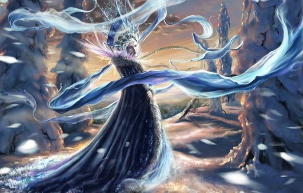 Картинка зима, девушка, снег, деревья, елки, новый год, ель, корона, шарф, арт, ткань, снегурочка, шуба, коса, …