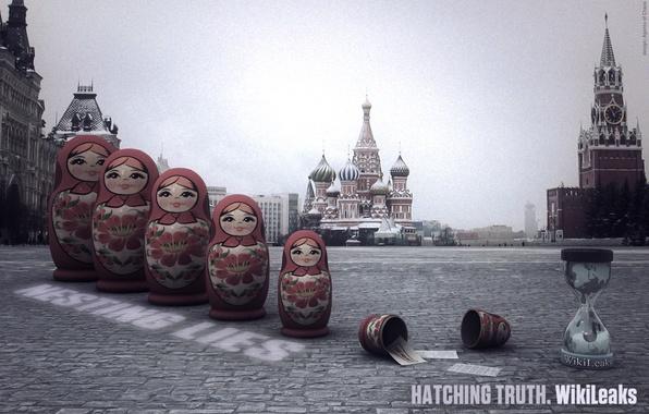 Картинка Москва, кремль, матрешки, WikiLeaks, красная площадь, свобода слова