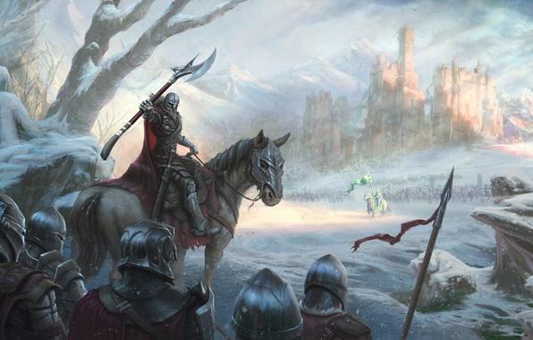 Картинка холод, зима, снег, замок, лошадь, армия, битва, рыцарь, король