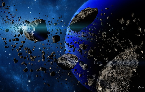 Картинка космос, планета, звёзды, астероиды