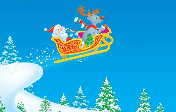 Фото обои рисунок, новый год, сани, дед мороз