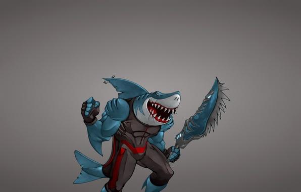Картинка оружие, минимализм, рыба, акула, меч, мутант, shark, fish, крючок, зубастая