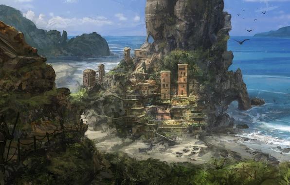 Картинка море, горы, птицы, город, скала, вид, арт, Jonathan Powell