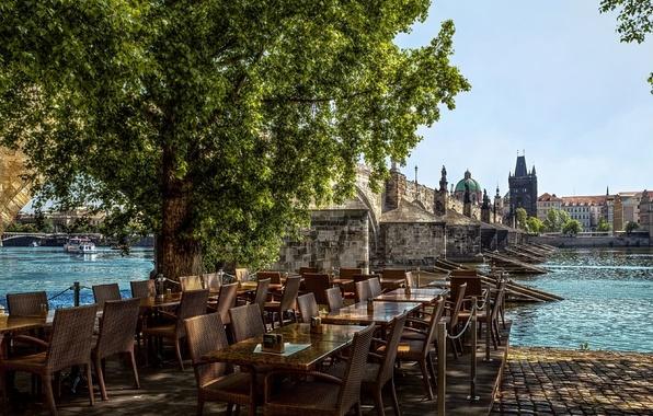 Картинка Город, Кафе, Река, Прага, Чехия, Улица, Здания, Street, Prague, River, Town, Kafe