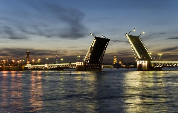 Картинка ночь, мост, город, Питер, Санкт-Петербург, фонарь, Россия, мосты, Russia, Яндекс Диск, peterburg, Яндекс