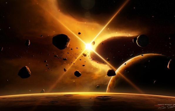 Картинка космос, звезды, лучи, свет, планеты, астероиды, space, universe, light, спутники, stars, planets
