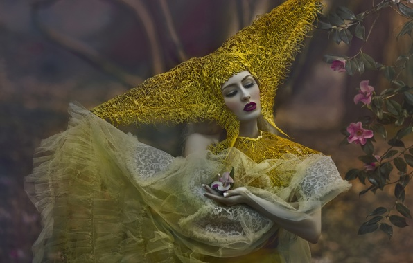 Картинка лес, девушка, цветы, фантазия, макияж, арт, Agnieszka Lorek, Ryo Love