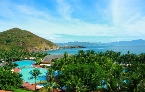 Картинка море, острова, горы, тропики, бассейн, Таиланд, Thailand, pool, island, природа., tropics