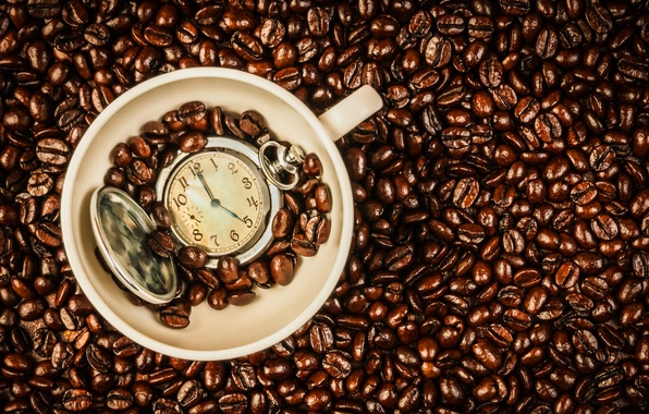 Картинка часы, кофе, зерна, чашка, beans, coffee, time