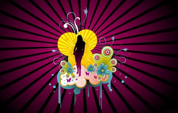 Картинка девушка, цветы, узор, вектор