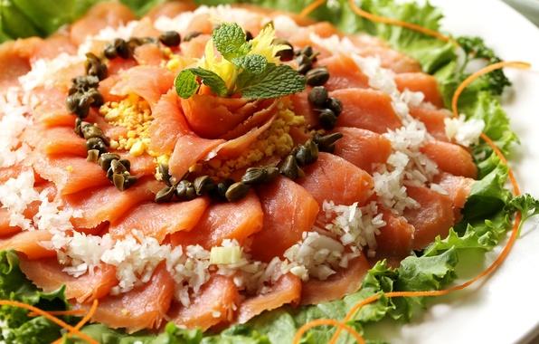 Картинка рыба, лук, закуска, семга, каперсы