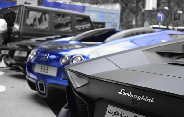 Картинка синий, черный, Lamborghini, Bugatti, джип, парковка, Mercedes, Veyron, суперкар, бугатти, хром, мерседес, ламборджини, AMG, Black, …