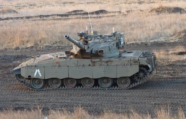 Картинка поле, танк, боевой, Меркава, основной, Merkava, Израиля