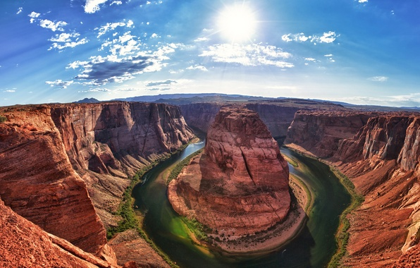 Картинка green, light, United States, river, Arizona, sun, Grand Canyon, Colorado River