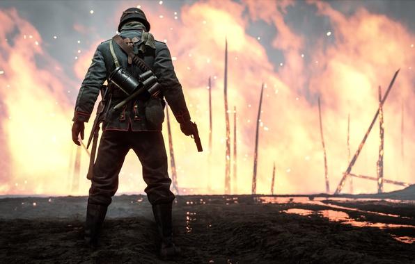 Картинка огонь, война, игра, солдат, Electronic Arts, Battlefield 1