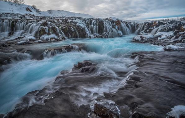 Картинка облака, пейзаж, природа, камни, скалы, водопад, поток, Исландия, Iceland