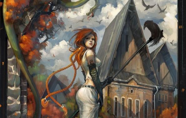 Картинка осень, девушка, город, дома, арт, рыжая, ворон, палка