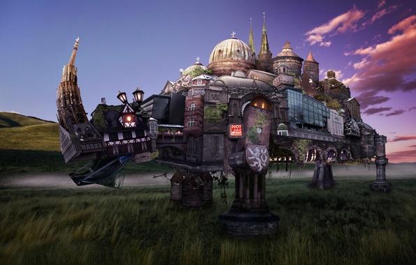 Картинка город, здания, арт, носорог, геральдика, античные, rhinoceros, Fantasy landscape