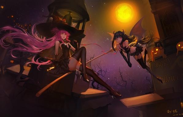 Картинка взгляд, полет, ночь, улыбка, девушки, праздник, магия, крылья, демон, ошейник, ведьма, метла, хэллоуин, art, mahou …