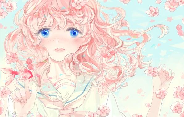 Картинка девушка, цветы, рыбка, аниме, сакура, арт, kyang692