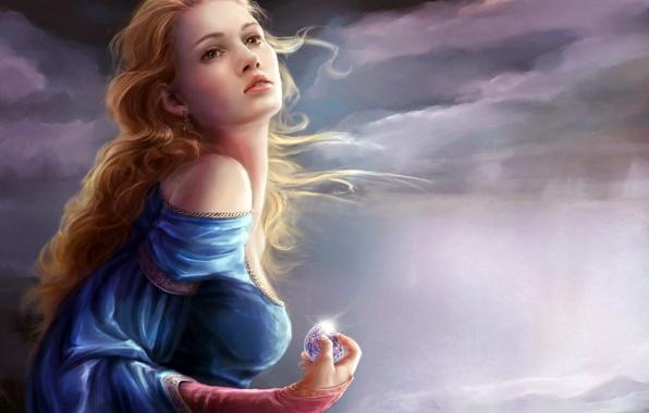 Картинка небо, девушка, облака, тучи, ветер, волосы, шар, серьги, погода, кудри, плечо, блестит, платье синее, в …