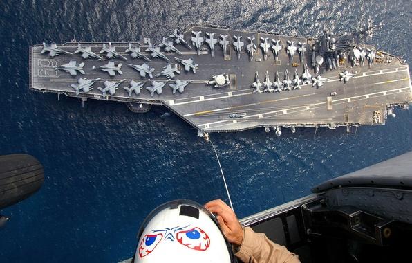 Картинка люди, океан, рисунок, человек, самолеты, вертолет, шлем, авианосец, кабина, трос, шасси, бомбардировщики, f-18
