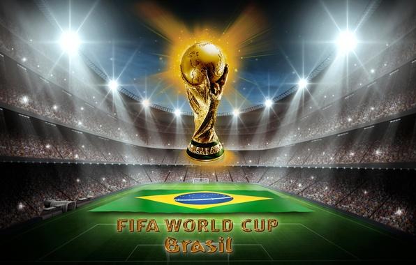Картинка футбол, golden, Бразилия, football, кубок мира, World Cup, Brasil, FIFA, trophy, 2014