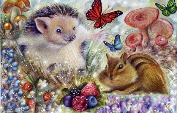 Картинка цветы, природа, ягоды, бабочка, грибы, арт, бурундук, живопись, ёжик