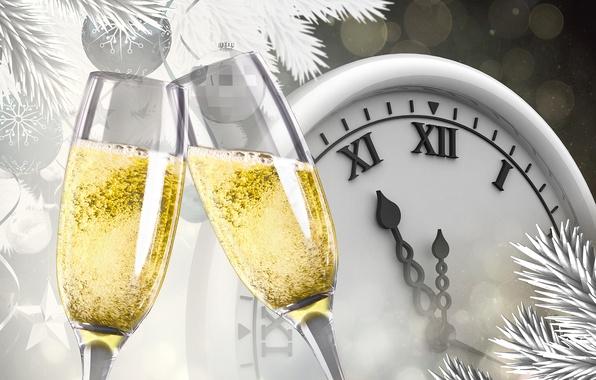 Фото обои ветки, блики, праздник, вино, шары, часы, вектор, бокалы, Новый год, шампанское, полночь