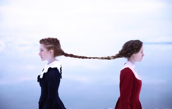 Картинка волосы, коса, связь, Lichon, две девушка