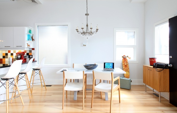 Картинка стол, мебель, окна, стулья, интерьер, кухня, люстра, стойка, барная