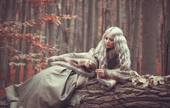 Картинка осень, лес, девушка, мех, Sloth