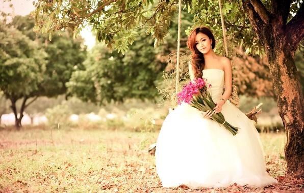 Картинка взгляд, цветы, природа, качели, Девушка, платье, азиатка