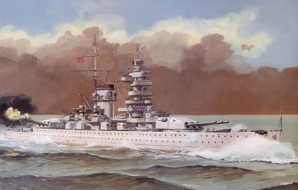 Картинка море, волны, дым, рисунок, выстрел, арт, крейсер, немецкий, тяжёлый, Великая отечественная война., Admiral Scheer, Адмирал …