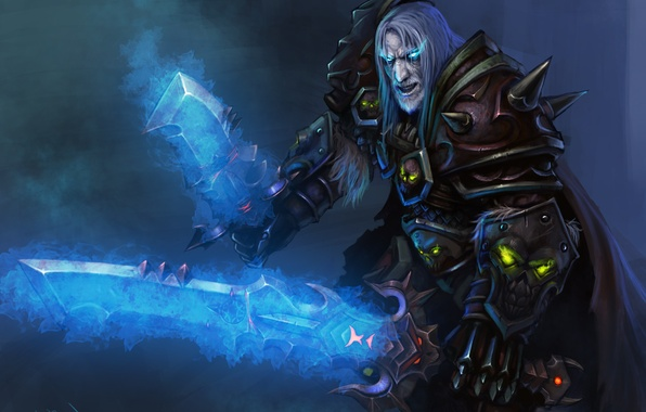 Фото обои взгляд, оружие, меч, WoW, World of Warcraft, Death Knight, art, клинок, варкрафт, рыцарь смерти