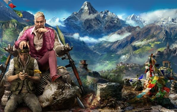 Картинка Небо, Облака, Горы, Взгляд, Снег, Статуя, Костюм, Оружие, Ubisoft, Ситуация, Far Cry 4, Рпг, Паган …