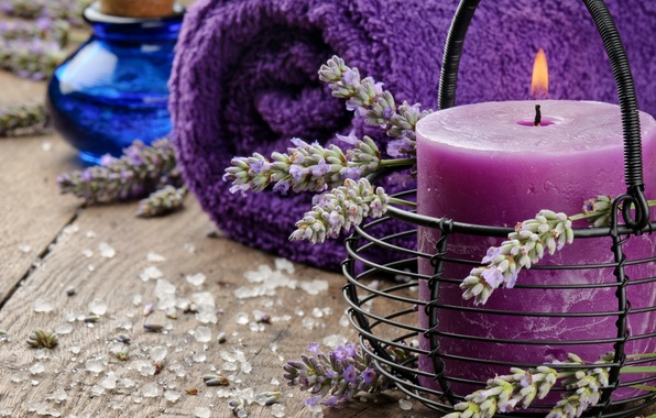Картинка масло, свеча, полотенце, лаванда