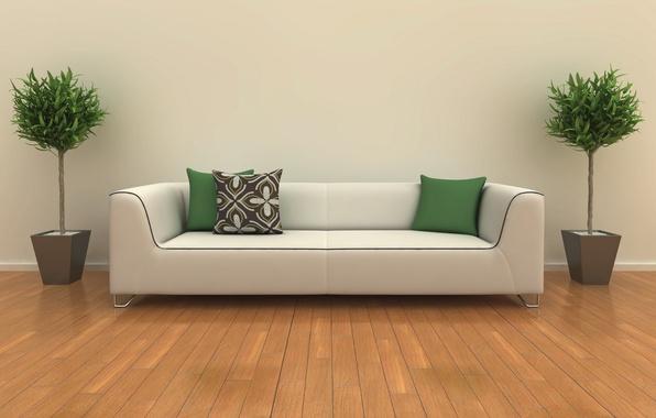 Картинка белый, дизайн, комната, диван, интерьер, растения, подушки, зеленые, design, room, interior