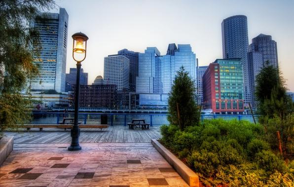 Картинка парк, здания, фонарь, Boston, Park
