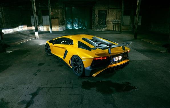 Картинка желтый, Lamborghini, суперкар, автомобиль, задок, Aventador, ламборгини, Novitec, Torado, LP 750-4, Superveloce