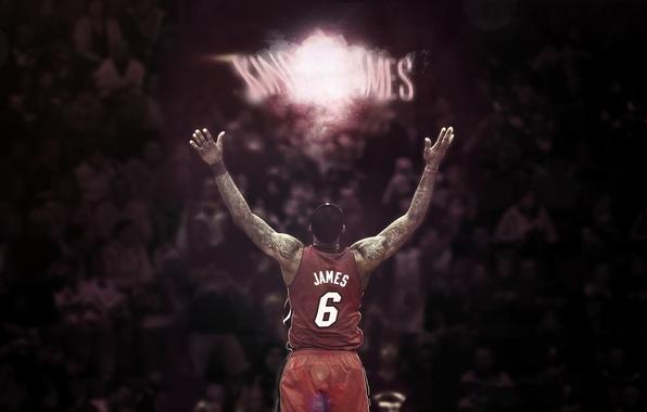 Картинка Баскетбол, Король, Номер, NBA, LeBron James, Miami Heat, King