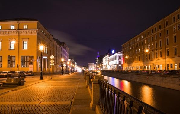 Картинка ночь, Питер, Санкт-Петербург, канал, Россия, Russia, спб, St. Petersburg, spb, Грибоедова