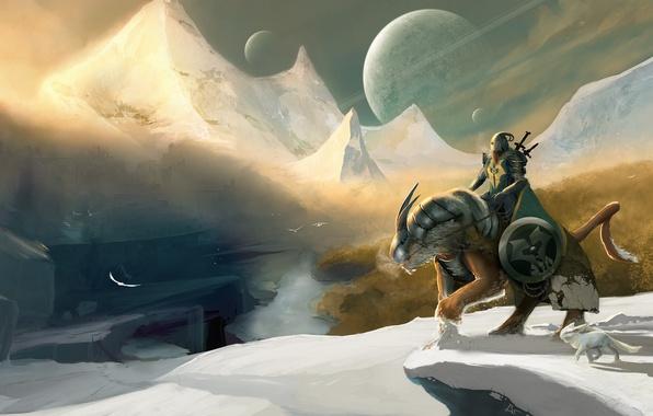 Картинка снег, горы, птицы, река, оружие, планеты, меч, доспехи, воин, арт, всадник, щит, рыцарь, Winter Knight