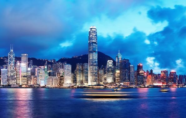 Картинка море, небо, облака, ночь, природа, city, город, lights, огни, река, здания, корабли, Гонконг, горизонт, Китай, …