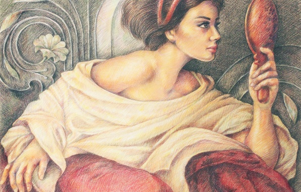 Картинка взгляд, девушка, цветы, лицо, фон, узоры, макияж, зеркало, профиль, живопись, любование